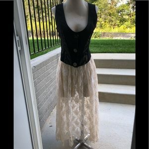 VINTAGE CARON JOY FULL LACE FLORAL SKIRT COVERUP